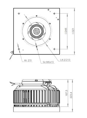 ATC ARU 190 E2 50 Yatay Atışlı Çatı Fanı 555 m3/h