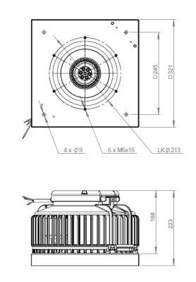 ATC ARU 250 E2 02 Yatay Atışlı Çatı Fanı 1270 m3/h