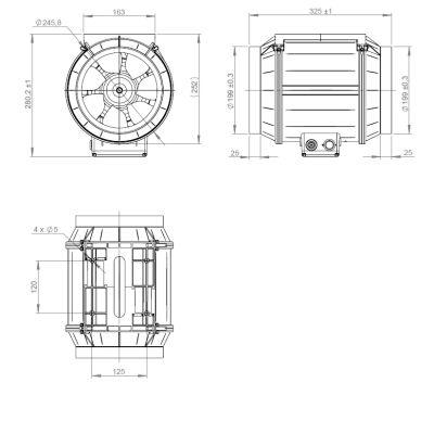ATC ETAMASTER 200 E2M 01 Plastik Karma Akışlı Kanal Fanı 1217 m3/h