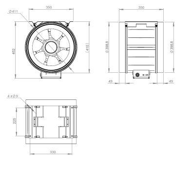 ATC ETAMASTER 400 E4M 01 Plastik Karma Akışlı Kanal Fanı 3296 m3/h